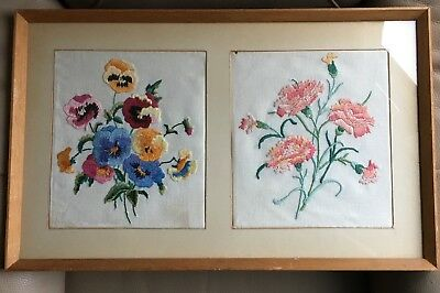Vintage Retro Mid Century Pansy Silk Flower Framed Embroidery Tapestry Picture