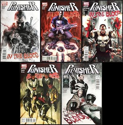 Punisher In the Blood #1-5.  Complete 2011 Series - Francesco Mattina covers!