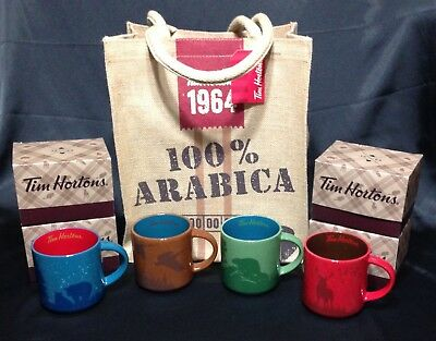 Set of 4 TIM HORTONS 2017 LE #017 Holiday Wildlife Coffee MUGS and Jute TOTE BAG