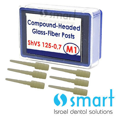 Dental Fiber Post with Enlarged Head m 1 endodontic endo 6 pcs packing 125 x 0.7