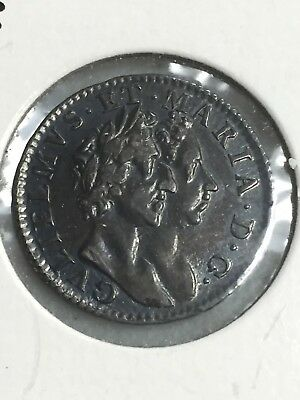1689 William And Mary 4 Pence Silver  Coin