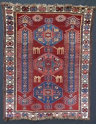 WOW! Unique Antique NW Persian KURDISH? Pictorial Rug w/ Camels. SEE ALL PHOTOS