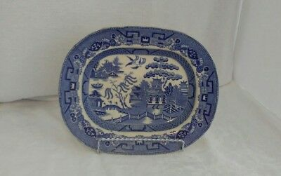 """BLUE WILLOW Serving PLATTER Stoneware Parker & son 10.5"""" x 8.5"""" OLD Blue Willow"""
