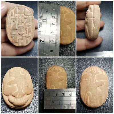 Wonderfull rare late egypt  terracotta scarab with inscription