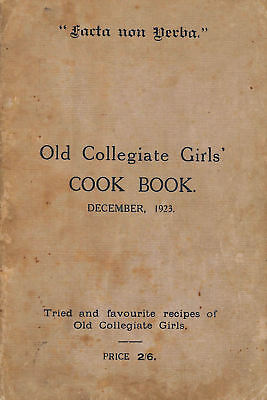 Old Collegiate Girls' Cook Book December 1923 by