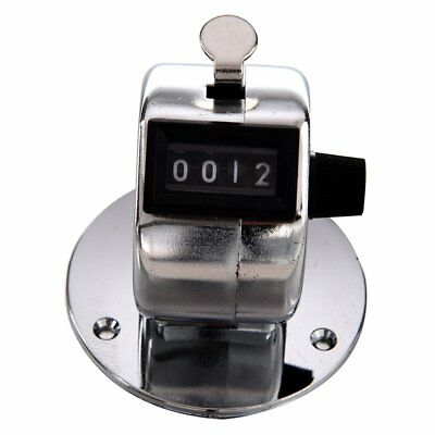 Round Base 4 Digit Manual Hand Tally Mechanical Palm Click Counter B7A9