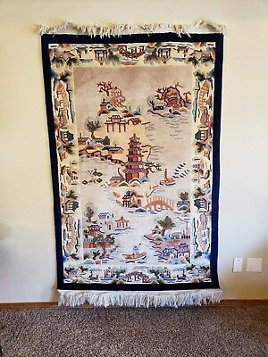 Vtg Gorgeous Chinese Rug 4' 1 foot x 6' 6 foot Cream and Blue Rug-Very Clean