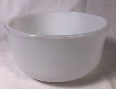 Vintage Glasbake White Milk Glass Mixing Bowl With Handles Made For Sunbeam 19CJ