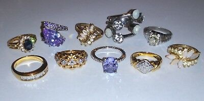 Vintage To Now Jewelry Ring Lot Estate Find Unsearched Untested 10 Rings