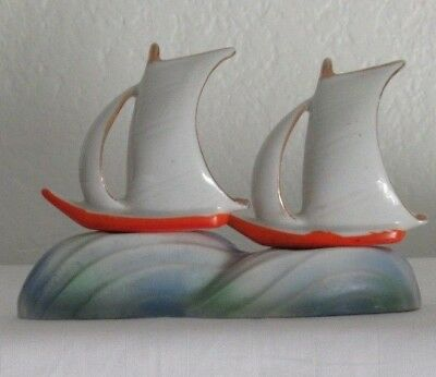 Vintage Porcelain Sail Boats on Ocean Stand Salt and Pepper Shakers A38s