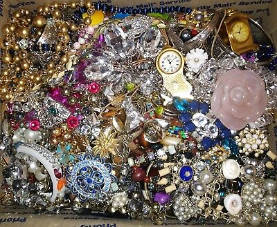 17 Lbs Pounds Vtg Now Junk Drawer Jewelry Lot Estate Find Unsearched Untested