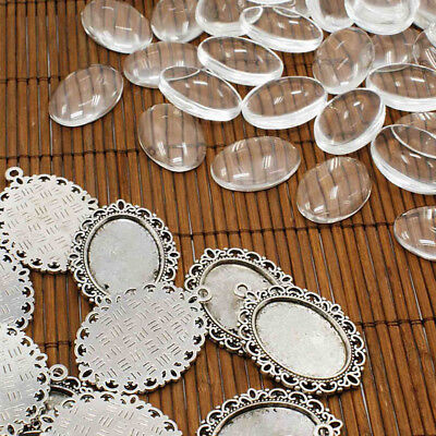 10Sets/Lot Alloy Oval Base Setting Pendant Clear Glass Cabochons DIY Jewelry New