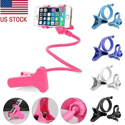 Flexible Long Arm Lazy Stand Clip Holder For Mobile Phone Tablet Desktop Beds US