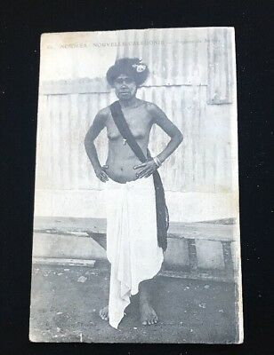 New Caledonia Naked Native Lady Postcard c1942. US Army Censor WW2