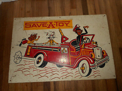 Vintage Nursery Wall Decor Sign Monkey Rabbit Elephant Fire Truck Engine Toy