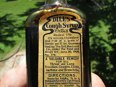 EARLIEST Variant DILL'S COUGH SYRUP Norristown PA. Embossed w/Great PAPER LABEL