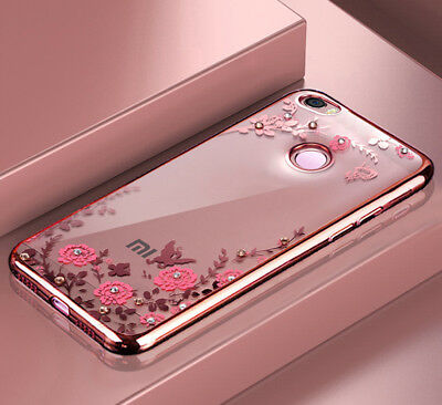 Xiaomi Redmi 4X Pink Gold Jewelled Case Cover Flexible Flowers Birds Bumper TPU
