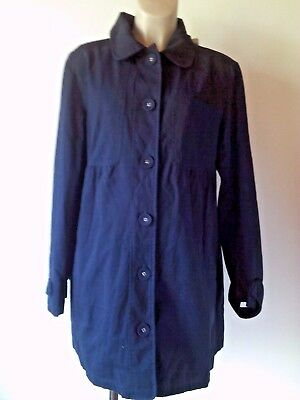 Jojo Maman Bebe Maternity Navy Blue Cotton Mac Coat Jacket Size L 16-18 Bnwt £49