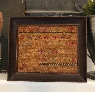 Antique Early Needlepoint Sampler School Girl  Sewing Embroidery Signed KT