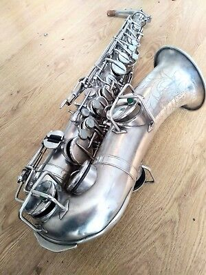 MAKE OFFER!GREAT PLAYER - Vintage American Alto Saxophone - SILVER - ENGRAVINGS