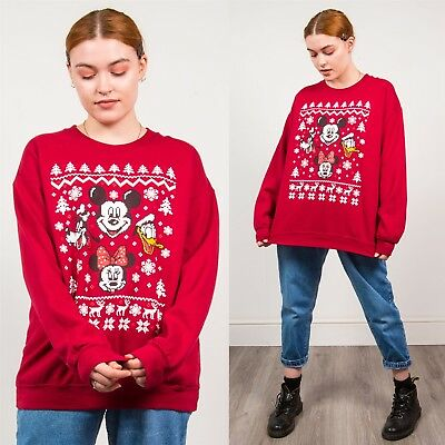 Mickey Mouse Red Sweatshirt Christmas Vintage Pixelated Effect Festive Print 16