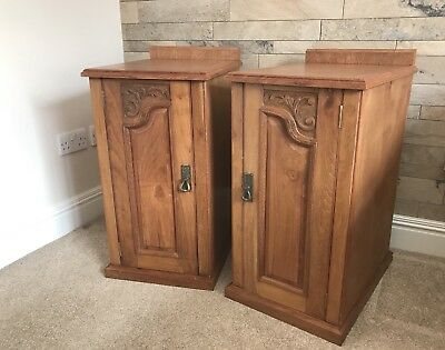 Vintage Antique pair of large bedside cabinets drawers