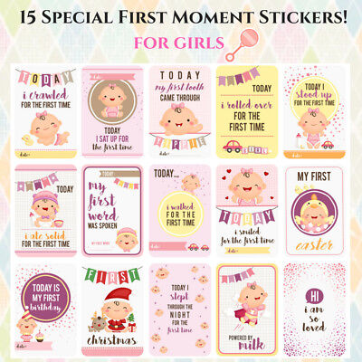 Baby First Milestone Stickers -Girls-15 adorable stickers for journal, calendar