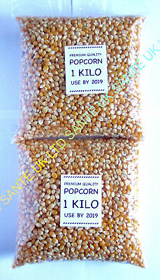2 KILO (2x1KG) NATURAL Popcorn Pop Corn Maize Seeds Raw Popping Kernels NON-GMO