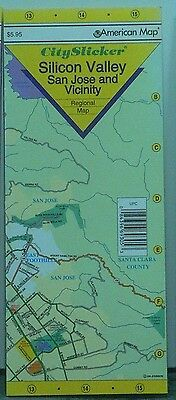 2002 American City Slicker Laminated Regional Map of Silicon Valley & San Jose