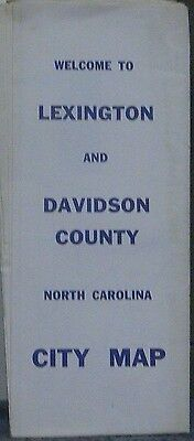 1970 Street Map of Lexington & Davidson County North Carolina with Local Ads