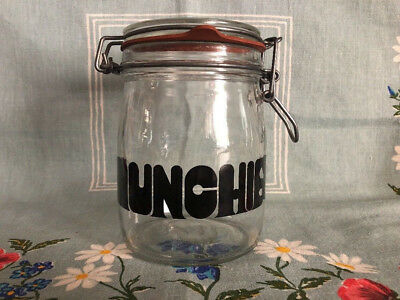 """Vintage Triomphe Munchies Glass Jar Canister 6.5"""""""