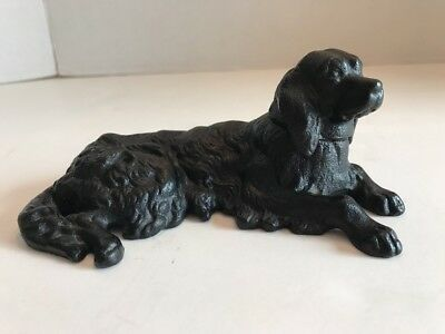 Vintage Black Cast Iron Golden Labrador Retriever Dog Paperweight