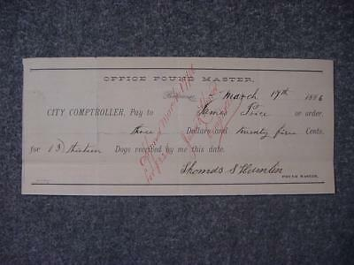 Old Baltimore City Paper Check  Dog Catcher Pay   Office Pound Master 1886 MD