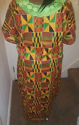 Beautiful African Kente  print  dress with green Embroidery