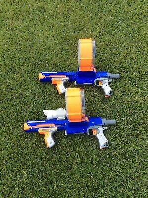 Nerf N Strike Raider CS -35 Lot Of 2 Guns With 2 Drums 35 Strikes And Scope