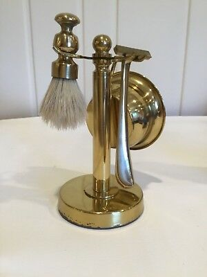 Vintage Solid Brass Shaving Set Razor Brush and Cup on Weighted Base * Heavy!