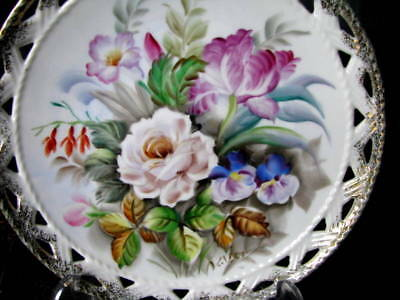 """Antique White Rose Plate, Hand Painted & Signed 8 1/4"""" Cutwork Plate c.1800s"""