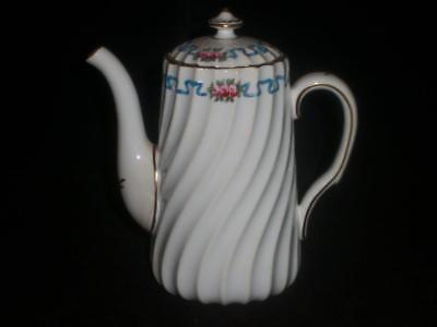 "Minton Small 5 3/4"" Coffee Pot Swirl Rim Pink Roses Blue Ribbon Pattern G9015"