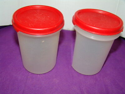 Tupperware 2-Modular Mates #2 ROUND 400ML Red Seal Snack Containers Airtight-EUC