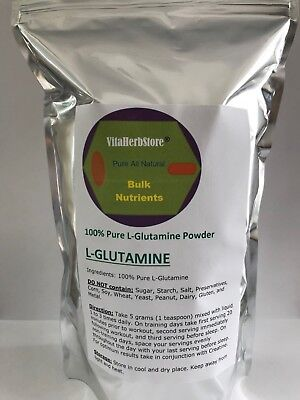 1000 g Pure 100% L-GLUTAMINE PWD -FREE FORM- Recovery-Muscle Growth-VEG BASE