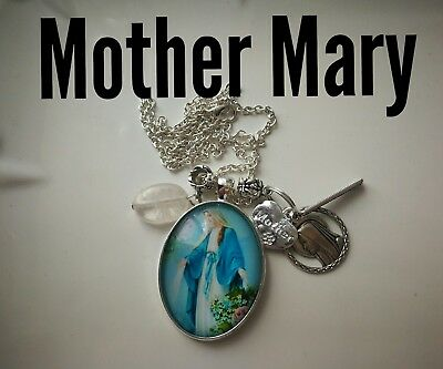 Code 314 Mother Mary quartz infused Necklace Confirmation Communion xx lge Caboc