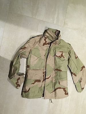 m65 field jacket ,1999,3 color camouflage, new old stock. medium extra short