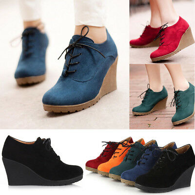 5affac36c7f3 Women s Wedge High Heel Booties Lace Up Round Toe Ankle Boots Casual Shoes  Size