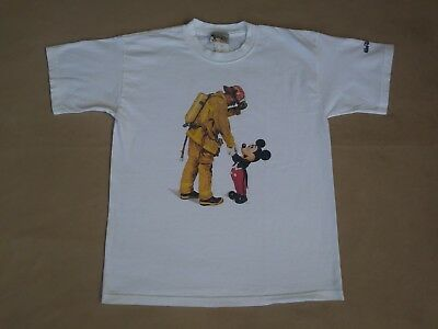 Walt Disney World Kids Mickey Mouse With Firefighter Size Large White Shirt