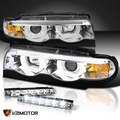 95-01 BMW E38 7-Series Glossy Black LED Iced Halo Projector Headlights Lamps