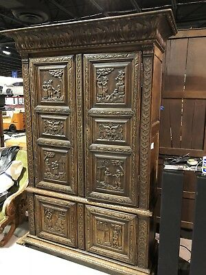 RARE 19th Century LARGE Antique Carved French PEASANT ARMOIRE Old Cabinet France
