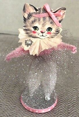 Handmade Chenille Pipe Cleaner Valentine Pink Kitty Cat Decoration Ornament