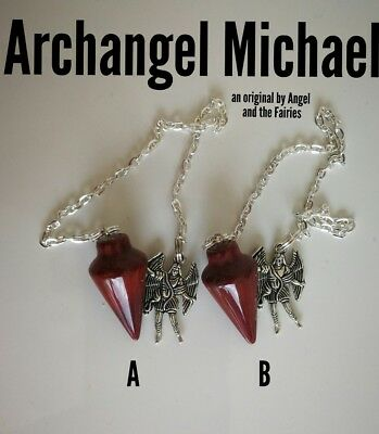 Code 321 Archangel Michael A or B x 1 Jasper Infused Pendulum Root Chakra Reiki