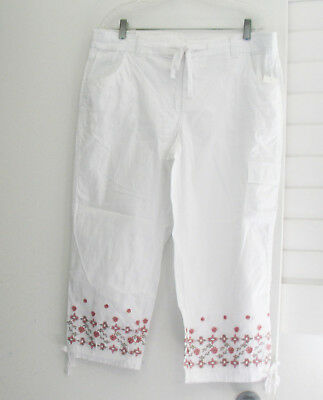 Style&Co. Womens Embroidered Cropped Cargo Capri Pants Bright White Sz 14 - NWT