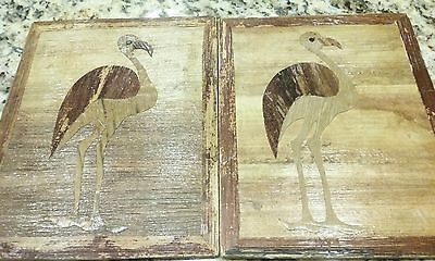 Authentic Vintage African Banana Leaf Art Set of Birds 2 PIECES Wood Backing